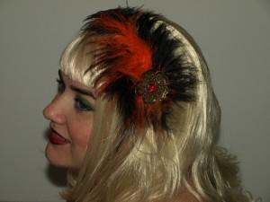 orange and black flower Tragic Veil headband