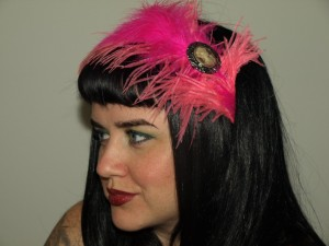 antique and pink feather Tragic Veil headband